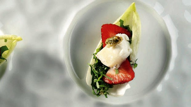 Strawberry Salad with Honey Vinaigrette and Goat Cheese