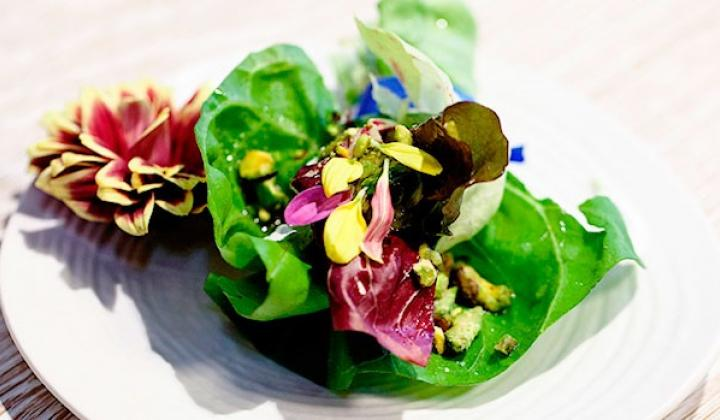 Bouquet of Flower Salad with Cream and Chopped Pistachios